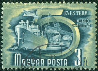 stamp printed by Hungary, shows shipping