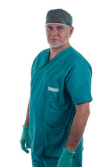 Surgeon with gloves
