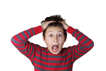 Young boy with shocked expression on white isolated background