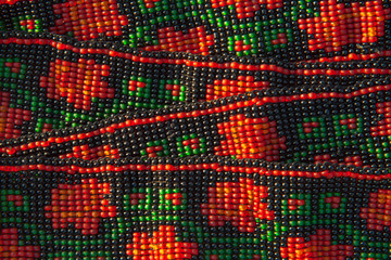 Ethnic beads abstract colorful pattern.