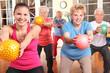 Leinwandbild Motiv Seniorengymnastik mit Ball
