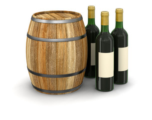 wine barrel and bottle (clipping path included)