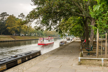 Riverside Path in York on a Misty Autumn Day