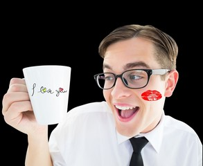 Composite image of geeky businessman holding a mug