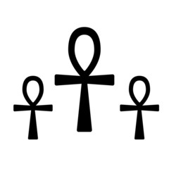 Set of ancient egypt symbol Ankh. Crux Ansata.