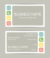 Business card. Flat design. Front and back set VI.