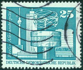 stamp shows image of the Alexanderplatz in Berlin