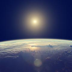 Sunrise over planets horizon.