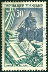 stamp printed in France dedicated to Book manufacture