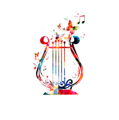 Colorful music background. Lyra design vector.