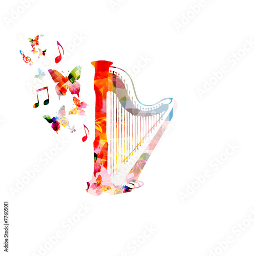 Colorful music background. Vector - 77605011