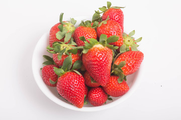 Fresh Strawberries in White Bowl