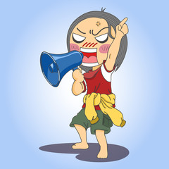 boy shouting through megaphone