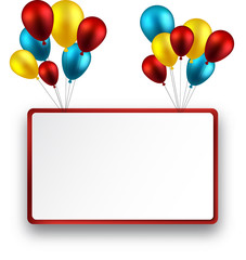 Celebrate frame background with balloons.