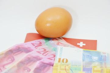 egg and Swistzerland  banknote
