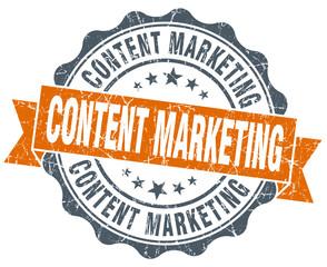 content marketing orange vintage seal isolated on white
