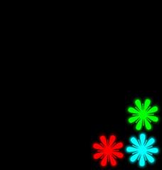 Self-illuminated multicolored flowers isolated on black backgrou