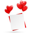 Festive love red paper hang on multicolored inflatable hearts ai