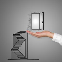 hand holding door