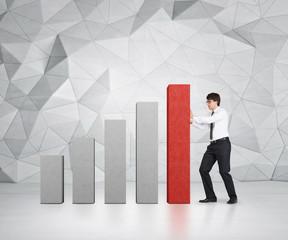 businessman pushing chart