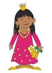 african girl  and flowers