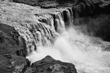 Iceland black white - Hafragilsfoss waterfall