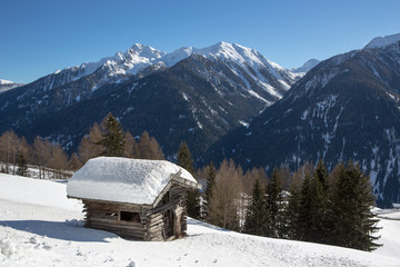 Winter landscape in the Ultental - Val d'Ultimo (Italy)