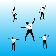 man in suit jumping vector illustration