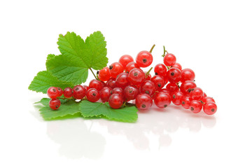 red currant berries and green leaves on a white background with