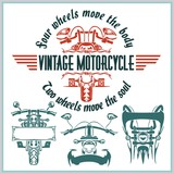 Vintage motorcycle labels, badges and design elements - vector