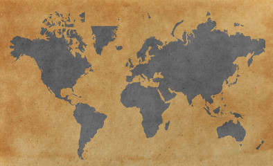 World map with old paper background