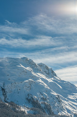 Alpine Alps mountain landscape at St Moritz. Beautiful winter
