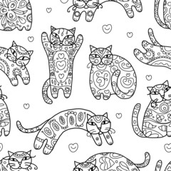 Art cats with floral ornament, seamless pattern for your design