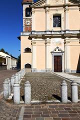 in  the somma lombardo    old   church    brick tower sidewalk i