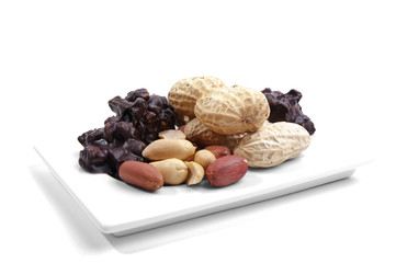 Peanut products on a white plate