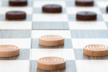 Close-up checkers board game