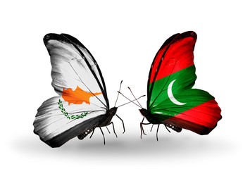 Two butterflies with flags Cyprus and Maldives