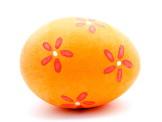 Painted orange easter egg isolated