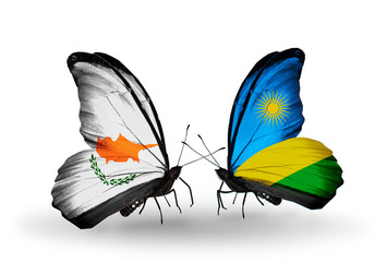 Two butterflies with flags Cyprus and Rwanda