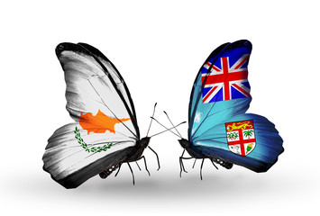 Two butterflies with flags Cyprus and Fiji