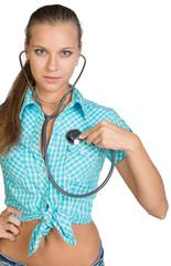 Woman using stethoscope on herself