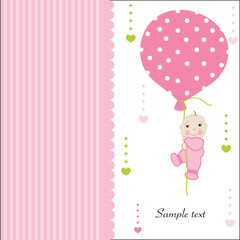 Hold the balloon baby girl arrival greeting card vector