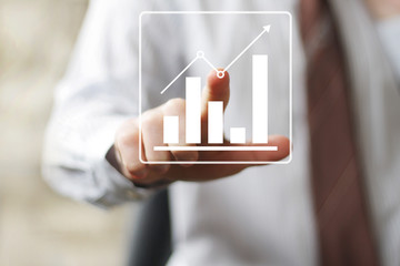 Man with chart online icon business diagram sign web