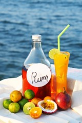 cocktail rum with orange juice on the beach