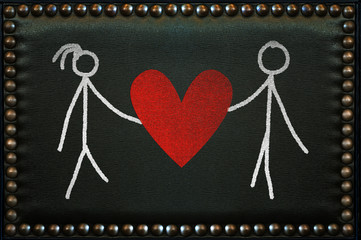 Lovers drawn on the leather pattern with knobs