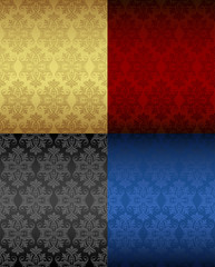 Four Luxury seamless floral patterns