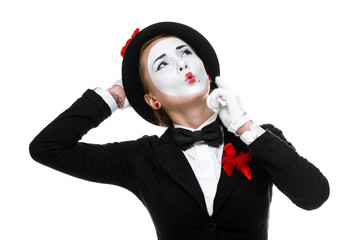 Portrait of the thoughtful and remembers mime