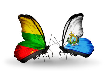 Two butterflies with flags Lithuania and San Marino