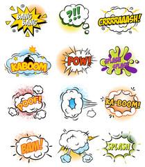 Set of Retro Comic Book Vector Design elements, Speech and