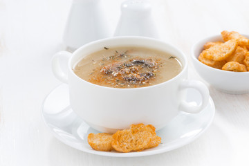 delicious mushroom cream soup with croutons on white table